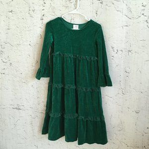 HANNA ANDERSON GREEN VELVET RUFFLE DRESS